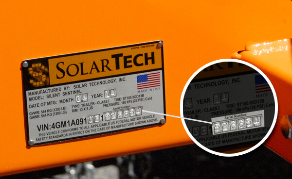 Serial Number Location on Solar Technology